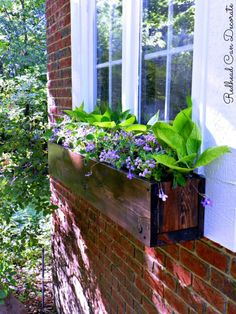 Gorgeous Flower Box Ideas - At The Picket Fence Diy Wood Planter Box, Garden Planter Boxes, Window Planters, Wooden Window Boxes, Wooden Flower Boxes, Window Box Flowers, Modern Planters, Wood Windows, Rustic Flowers