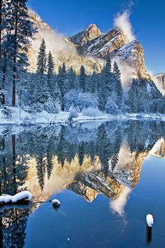 The Three Brothers of Yosemite, California - by Joseph Trinh. The pictures I took at Yosemite, every one of them, are gorgeous! Yosemite should be on everyones list of place to go. Yosemite National Park, National Parks, Places To Travel, Places To See, Beautiful World, Beautiful Places, Winter Szenen, Winter Time, Winter Magic