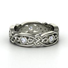 Platinum Ring with Diamond  - lay_down