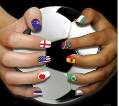 FIFA World Cup 2014 Brazil Nail Art Designs for everyone to try. Support your team by wearing these FIFA world cup nail art designs and cheer for your team Nail Decals, Nail Stickers, World Cup 2014, Fifa World Cup, Soccer Nails, Football Nails, Sport Nails, Football Humor, Football Soccer