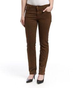 Look what I found on #zulily! Espresso Leopard Mustang Sally Straight-Leg Jeans - Women #zulilyfinds