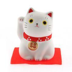 Maneki-Neko White Set Of 2 Gift of Happiness