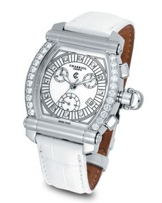 "Charriol Diamond ""Colvmbvs Chronographe Tonneau"" Watch with White Crocodile Strap"