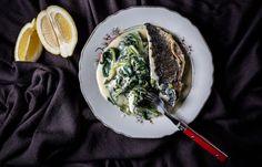 Τσιπούρα σοτέ με χόρτα φρικασέ και αυγολέμονο Fish, Ethnic Recipes, Ichthys