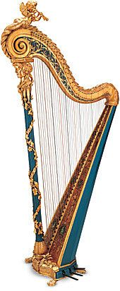 Single action pedal harp (pedals à sabots/crochets). Ribbons of bells and sprays of ivy interweave along the column, which rests upon a base ornamented with floral motifs. The soundboard sports figurines of putti and medallions alternating with floral designs; in the center are two exotic female dancers. The present blue color is actually slightly darker than the original. France, 1783.