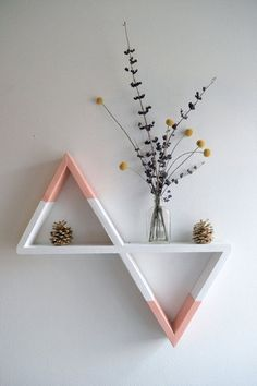 Triangle Shelves, Pastel Pink