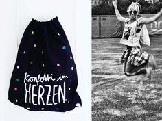 Turnbeutel - Backpack *Konfetti_015_black* - ein Designerstück von klein-2 bei DaWanda