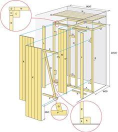 Ritning på platsbyggd garderob i nisch