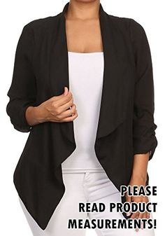 Womens Plus Size SemiSheer Blazer Asymmetrical Jacket Open Front 1X Black * Details can be found by clicking on the image.
