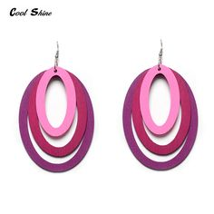 Colorful Big Circled Wood Drop Earings For Women //Price: $6.91 & FREE Shipping //     #christmasearrings