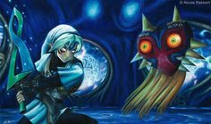 Fierce Deity Link vs. Majora's Mask by Quelchii.deviantart.com on @DeviantArt