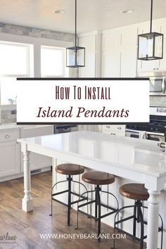 Install an island pedant in 3 steps.  It is actually pretty easily done and you don't need an electrician. Island pendants kitchen lights. Pendant lights over kitchen island. Primitive Country Homes, Primitive Bedroom, Kitchen Pendant Lighting, Pendant Lights, Island Pendants, Farmhouse Style Kitchen, Diy Home Improvement, Home Renovation, Country Decor