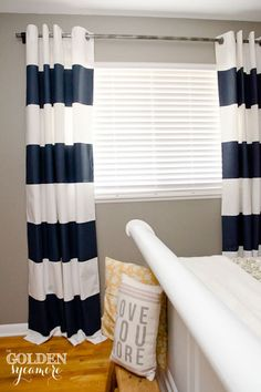 How to Add Drama to Your Boring Windows - My husband and I have been living with plain white blinds in our master bedroom and were ready to add some drama to th… Plain Curtains, Striped Curtains, Home Curtains, Ikea Drapes, Window Curtains, Diy Pared, Pipe Curtain Rods, Painted Curtains, White Blinds