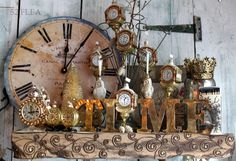 New Year's Mantel with clocks