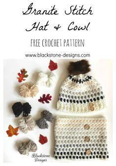 Crochet Beanie Patterns Granite Stitch Hat and Cowl crochet patterns from Blackstone Designs Crochet Gifts, Easy Crochet, Free Crochet, Knit Crochet, Crochet Designs, Crochet Patterns, Crochet Ideas, Flower Patterns, Ravelry
