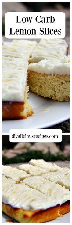This low carb lemon slice is a light and fluffy cake that is covered in a rich lemony cream cheese butter topping. Perfect for an afternoon tea treat.  http://divaliciousrecipes.com/2016/11/04/low-carb-lemon-slice/