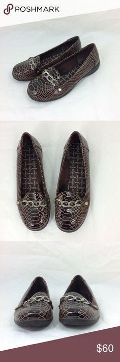 d0936fa37199 Vionic Orthaheel Alda Croc Loafers Vionic Orthaheel Women Sz 8 Alda Croc  Loafer Leather Chainlink Trim