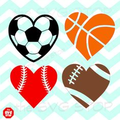 This SVG STOP listing includes 4 different heart shaped sports balls....baseball, basketball, football, & soccer. WHAT YOU'LL GET ~ SVG and Studio