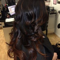 Caramel Highlights on Black Hair