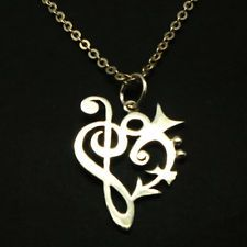 925 Silver Prince Rogers Nelson Love Symbol Treble and Bass Clef  Necklace