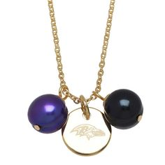 Available at BenGarelick.com Officially Licensed NFL Baltimore Ravens Yellow Stainless Steel 9-10mm Black & Purple Freshwater Cultured Pearl Pendant Logo on Disc. Style NFP8460BR175
