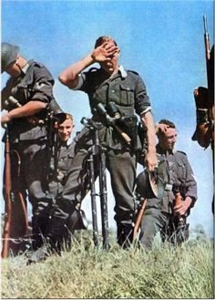 German soldiers on a Hot day on the steppes of Ukraine, July 1941. Operation Barbarossa.