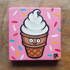 "Ice Cream Painting / Mini Cute Cartoon Food Painting (with Sprinkle Background) (2"" x 2"")"