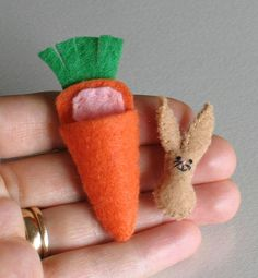 Bunny Rabbit brown felt plush miniature in carrot by wishwithme