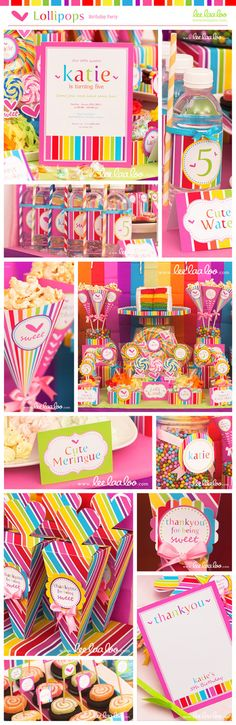 Lollipop Birthday Party Mega Set - PERSONALIZED PRINTABLE DIY - BX14x. $35.00, via Etsy.
