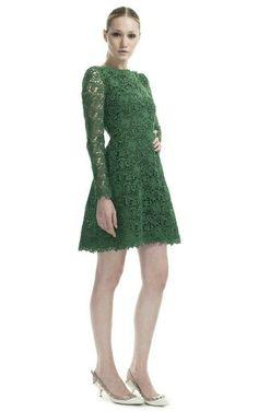 Valentino - Emerald Backless Lace Dress ($5,980) (b)