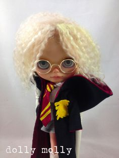 SALE dolly molly HARRY POTTER Hermione cape/ hoodie shirt, tie, skirt glasses for Blythe doll outfit Gryffindor