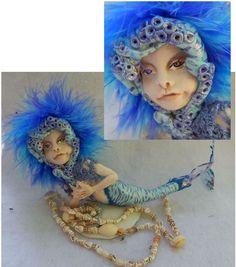 Bo Blue Octopus Mermaid Tiger Stripes w/ Shells OOAK Fairy Art Doll Fairies  #handmade