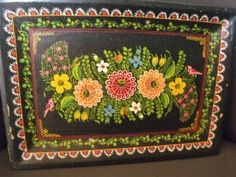 Vintage Black Floral Hand Painted Flowers Mexican Olinala Wood Tole Tray 13x 9