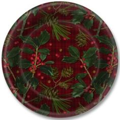 Serve all of your holiday treats on these festive Plaid and Holly Paper Plates.