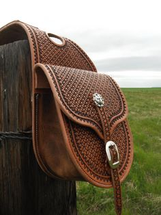Custom Hamdmade Stamped Leather Saddle Bags. For sale on etsy by NeelySaddlery-SR