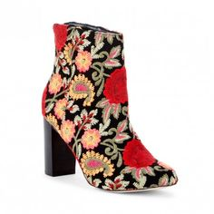 Navy Floral Embroidered Bootie | Olympia | Free Shipping on Orders $50+