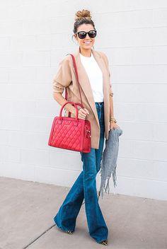 fall / winter - street style - street chic style - casual outfits - fall outfits - winter outfits - easy outfits - camel coat + white t-shirt + flare jeans + red handbag + black sunglasses + grey scarf