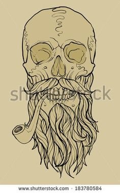 skull with beard and pipe - stock vector