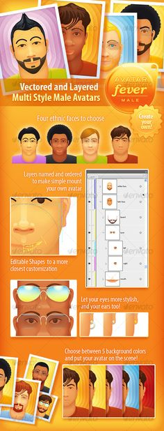 AVATAR FEVER - MALE  #GraphicRiver         Vectored and Layered Multi Style Male Avatars. Totally vector and Illustrator styles based shapes. It permits you highly edit peaces, colors and effects with close adjusts. Create your own.     Created: 23September10 GraphicsFilesIncluded: AIIllustrator #VectorEPS Layered: Yes MinimumAdobeCSVersion: CS3 Tags: avatars #clean #colorfull #cubic #hotcolors #modern #multicolor #people #stylishlogoopener