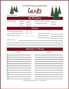 Christmas Cards Planning Printable