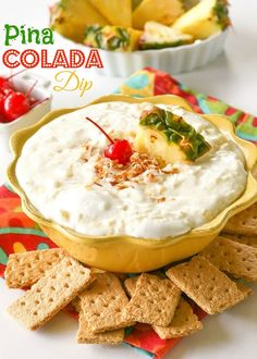 Pina Colada Dip - creamy dip with a tropical twist. Dip fruit or graham crackers in it. Great for a lunch box or after school snack. Dessert Dips, Dessert Recipes, Fruit Dessert, Fruit Cakes, Fruit Recipes, Snack Recipes, Dip Recipes, Cooking Recipes, Easy Recipes