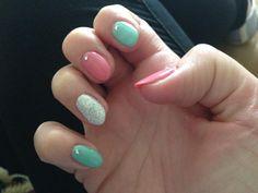 Aqua pink glitter nails