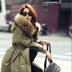 Holiday Season Sale.   Military Winter Jacket Female Korean Solid Long Slim Thick Big Fur Collar Army Green Coat Winter Coats For Women Plus Size * Find out more on  AliExpress.com. Just click the VISIT button.