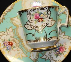 Royal Chelsea COOL Minty Turquoise Gold Cartouche Tea cup and saucer