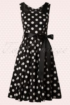 Hearts and Roses Black and White Polkadot Swing Dress 102 14 13317 20140613 0010