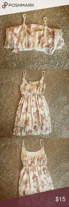Sizzling  Summer Dress Tan with floral pattern; short with rope material  spaghetti straps. Purchased at a Boutique CIEL Dresses Mini