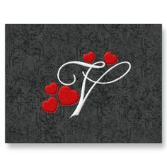 Elegant Hearts Letter V Postcard Wedding Invitation Lady Alphabet Soup