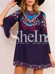 Purple Long Sleeve Vintage Print Dress -SheIn(Sheinside) Mobile Site