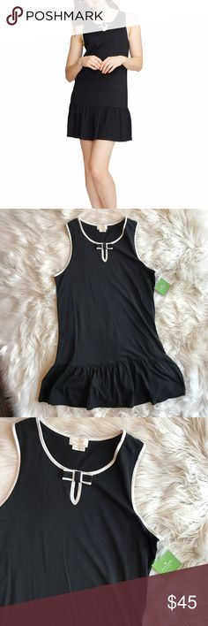 NWT Kate Spade Ruffle Chemise NWT Kate Spade Ruffle Chemise. Black background with white pipping trim. Very comfortable and chic. Ruffle detail at bottom, keyhole opening at neckline with bow detail. Size medium. No trades, offers welcome. Bundle for discount. kate spade Intimates & Sleepwear Chemises & Slips