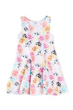 Little Girls Kitten & Floral Dress